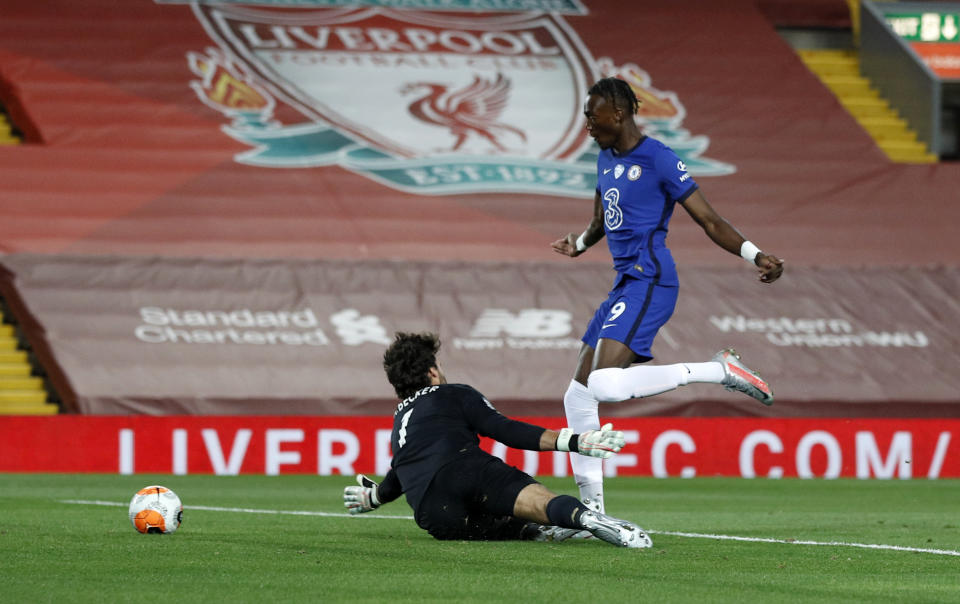 Chelsea's Tammy Abraham celebrates scoring his side's second goal of the game during the Premier League match against Liverpool. (PHOTO: Phil Noble/PA Images via Getty Images)
