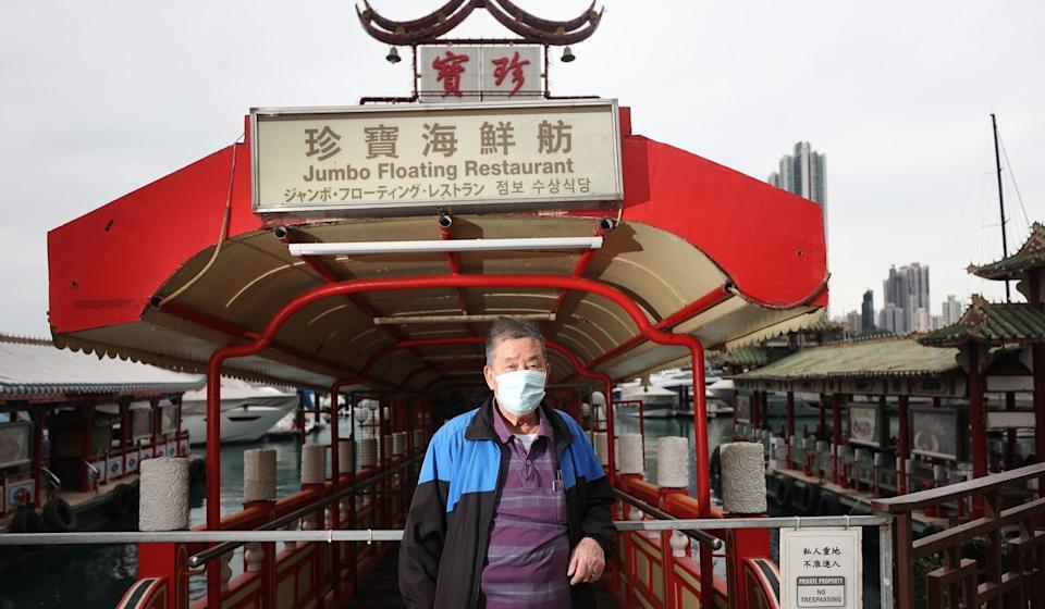 Retired security guard Tsang King worked at the Jumbo Floating Restaurant in Aberdeen for more than 30 years. Photo: Xiaomei Chen