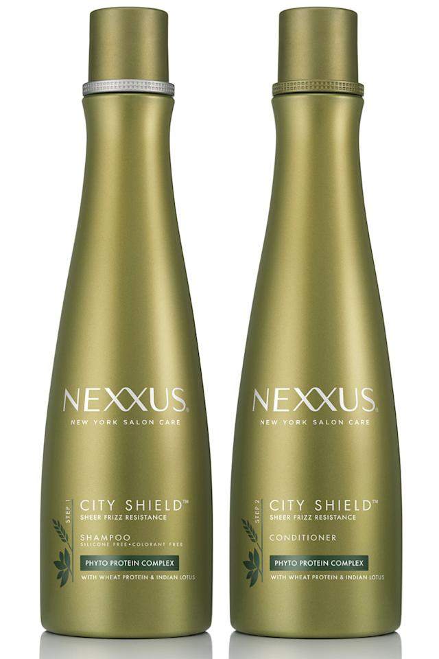 "<p>Living in an environment prone to pollution can wreak havoc on hair. This shampoo and conditioner help purify and shield strands from the damaging effects of urban elements.<span></span></p><p><strong>Nexxus</strong> City Shield Shampoo, $12.99 & Conditioner,$18,<span></span> <a rel=""nofollow"" href=""https://www.nexxus.com/en/us/nexxus-city-shield-shampoo-for-all-hair-types-605592656187.html?gclid=CNCCzL7gzNICFY6Iswod1cEBZQ&gclsrc=aw.ds"">nexxus.com</a>.</p>"