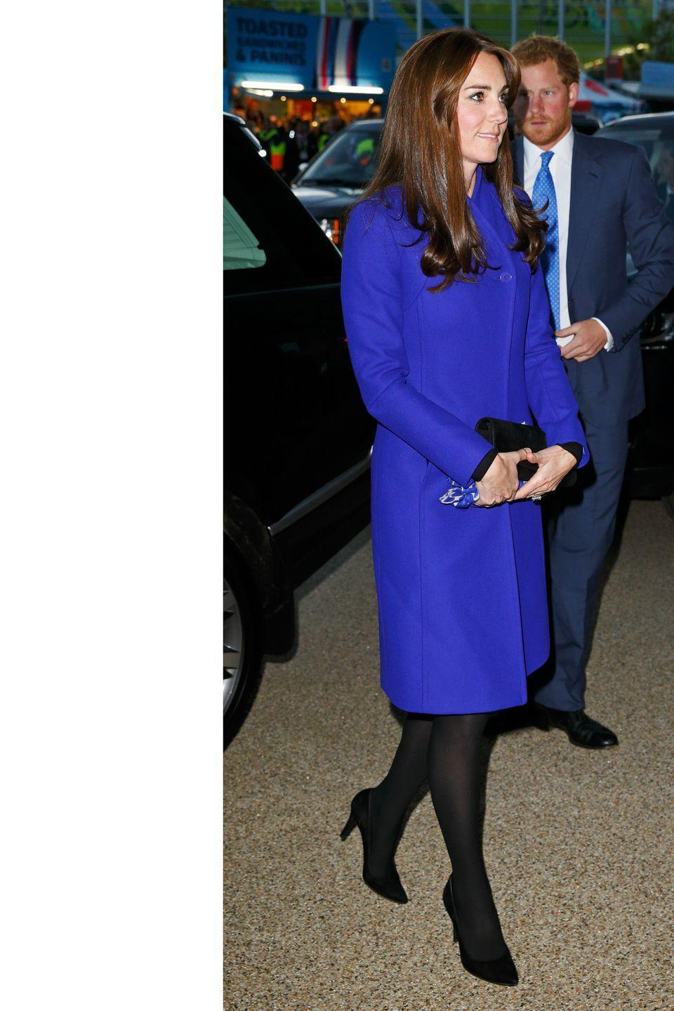<p>A bold blue Reiss coat at the Rugby World Cup opening ceremony in Twickenham, England</p>
