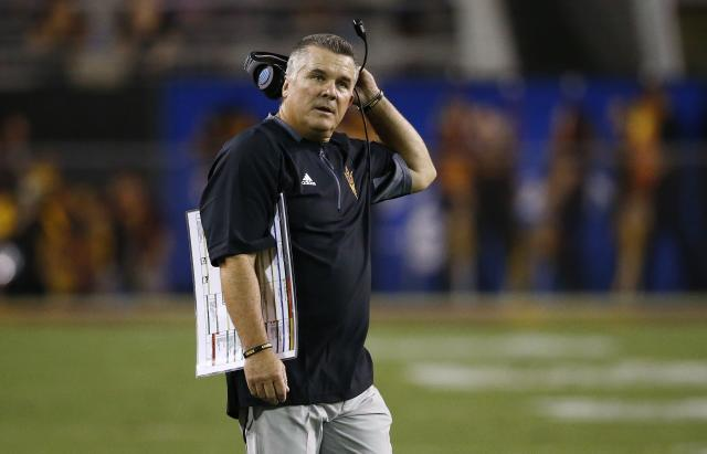 Todd Graham was fired after the regular season but will still coach Arizona State in the Sun Bowl. (AP Photo/Ross D. Franklin)