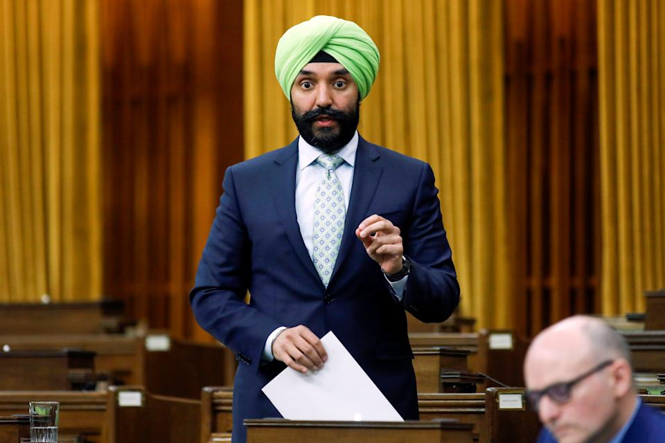 Canada's Minister of Innovation, Science and Industry Navdeep Bains speaks during a meeting of the special committee on the COVID-19 outbreak, as efforts continue to help slow the spread of the coronavirus disease (COVID-19), in the House of Commons on Parliament Hill in Ottawa, Ontario, Canada May 20, 2020. REUTERS/Blair Gable
