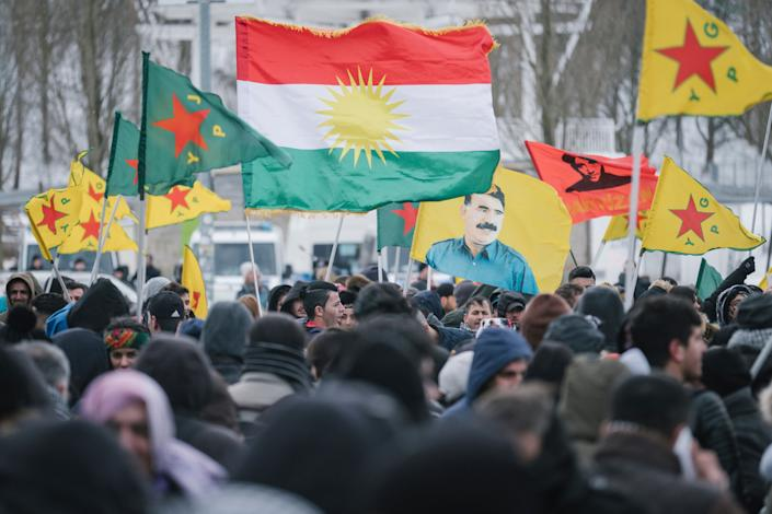 "Demonstrators in Germany protest the Turkish takeover of Kurdish-controlled Afrin in northern Syria in March 2018. Now that President Donald Trump has decided to pull out of Syria, ""There is a real fear that [Turkey] will do the same thing that they did in Afrin,"" one expert says. (Photo: Ole Spata/dpa via ASSOCIATED PRESS)"