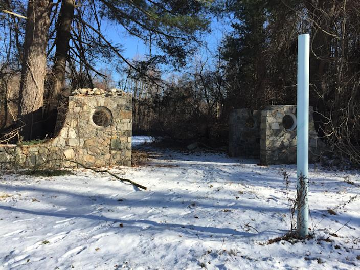 The remnants of a stone gateway in the French Hill section of Donald J. Trump State Park in Yorktown, N.Y. (Photo: Michael Walsh/Yahoo News)