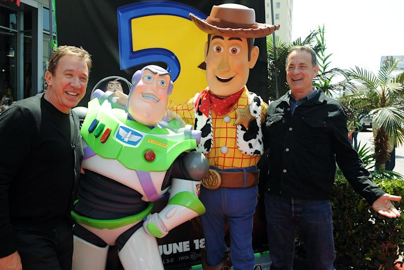 Tim Allen, left, and Tom Hanks arrive at the world premiere of Toy Story 3 on Sunday June 13, 2010 at The El Capitan Theater in Los Angeles. (AP Photo/Katy Winn)