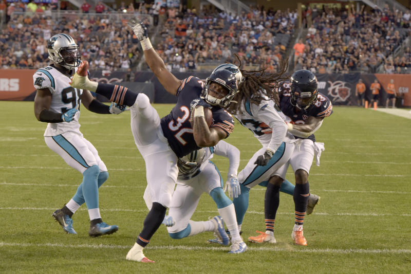 Chicago Bears running back David Montgomery (32) scores a touchdown against the Panthers. (AP)