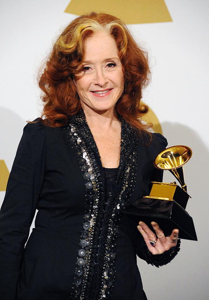 Bonnie Raitt poses in the press room during the 55th Annual GRAMMY Awards at STAPLES Center on February 10, 2013 in Los Angeles, California.  (Photo by Steve Granitz/WireImage)