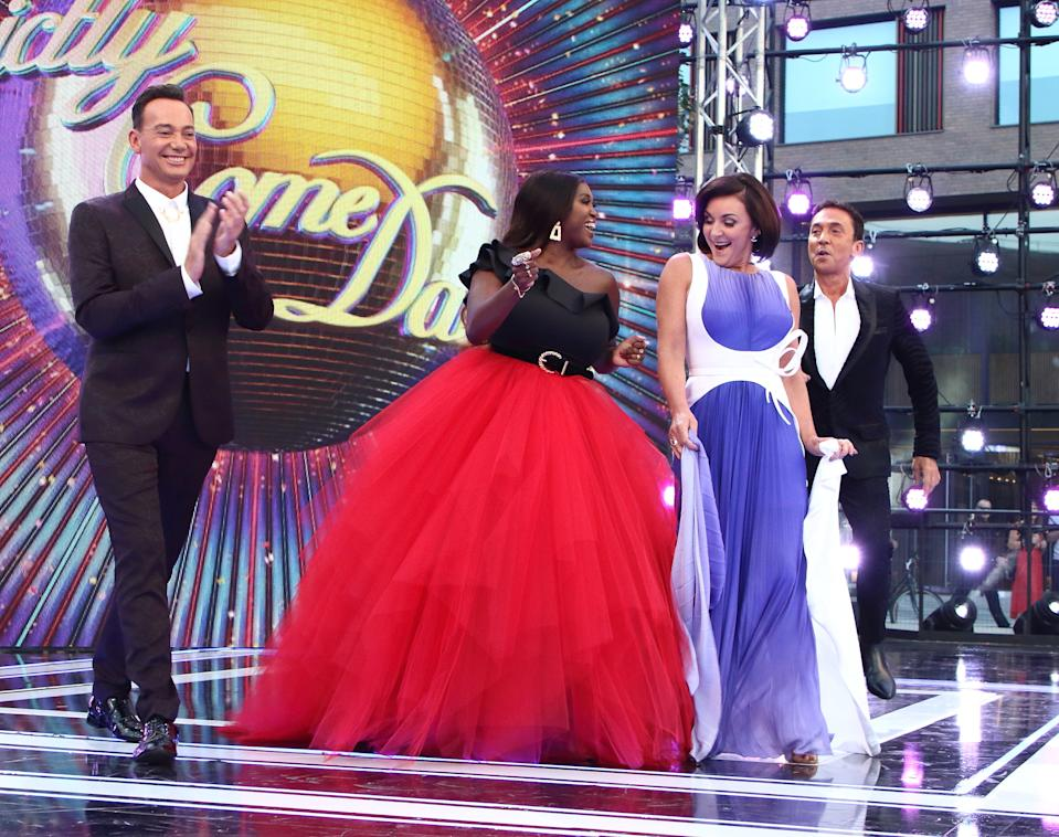 Craig Revel Horwood, Motsi Mabuse, Shirley Ballas and Bruno Tonioli arrive as Presenters, Professional Dancers, Celebrity dancers and Judges onstage during the BBC Strictly Come Dancing Launch at Broadcasting House in London. (Photo by Keith Mayhew / SOPA Images/Sipa USA)