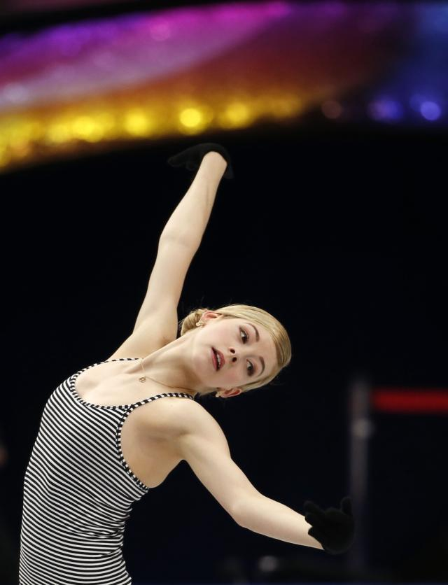 Gold of the U.S. attends a training session at the ISU World Figure Skating Championships in Saitama