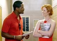 "<p>It took a long time for <em>Sex and the City </em><span class=""redactor-invisible-space"">to introduce a non-white love interest on the show. Back in 2003, Nixon <a href=""https://www.cbsnews.com/news/sex-and-the-city-diversifies/"" rel=""nofollow noopener"" target=""_blank"" data-ylk=""slk:admits"" class=""link rapid-noclick-resp"">admits</a> her and Parker were the biggest advocates of wanting to improve the cast's diversity, stating it's ""irresponsible."" Nixon explains, ""I'm a huge fan of the show, but if we had an area in which we really could use improvement, it's certainly this one.""</span></p>"
