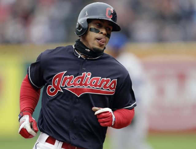 Cleveland Indians' Francisco Lindor runs the bases after hitting the first of two home runs against the Royals on Saturday, May 12, 2018. (AP)