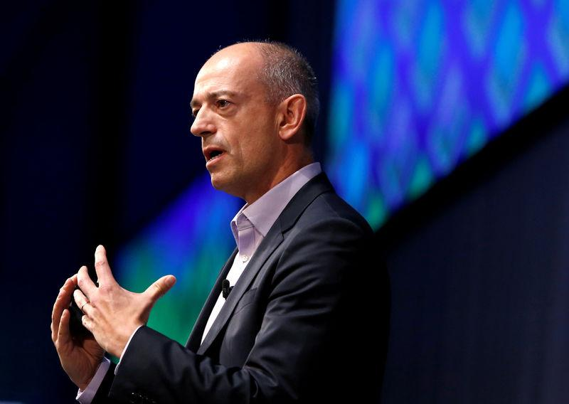 FILE PHOTO: ARM's CEO Simon Segars delivers a speech at SoftBank World 2017 conference in Tokyo