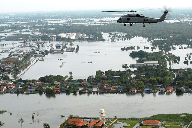The fact that the city is a low lying terrain, just 1.5 metres above sea level and that it is located at the southern end of the Chao Phraya River Basin means that Bangkok is already geographically susceptible to flooding each time heavy rains hit the city. Bangkok is also built on soft clay land, further exacerbating the situation. Climate change and rising sea levels, coupled with uncontrolled underground extraction of water leading to land subsidence, has caused the city to sink, as per a study by Thailand's National reform Council, by 2 cms every year. The city is trying to tackle the situation; one of the steps taken by Bangkok was to create a 11 acre park which holds a million gallons when it is raining, in Chulalongkorn University. Image: 2011 Bangkok floods