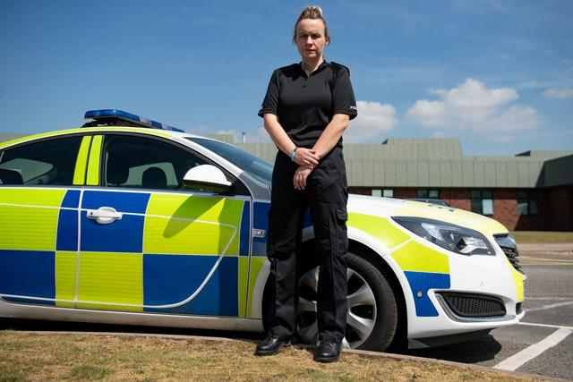 New police recruit Verity Steele outside Staffordshire Police HQ
