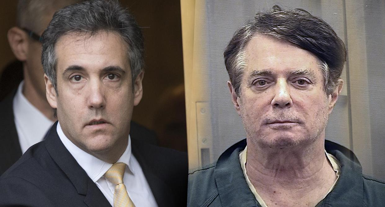 Michael Cohen; Paul Manafort (Photo illustration: Yahoo News; photos: Mary Altaffer/AP, Alexandria Detention Center via AP)