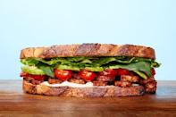 """This modern take on the classic B.L.T. uses protein-packed, marinated tempeh as a vegetarian substitute for bacon. <a href=""""https://www.epicurious.com/recipes/food/views/tempeh-bacon-lettuce-and-tomato-sandwich?mbid=synd_yahoo_rss"""" rel=""""nofollow noopener"""" target=""""_blank"""" data-ylk=""""slk:See recipe."""" class=""""link rapid-noclick-resp"""">See recipe.</a>"""