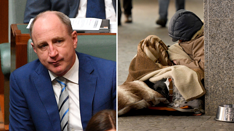 Pictured: Dual image of Community Housing Minister Luke Howarth, and a homeless man sleeping. Images: AAP