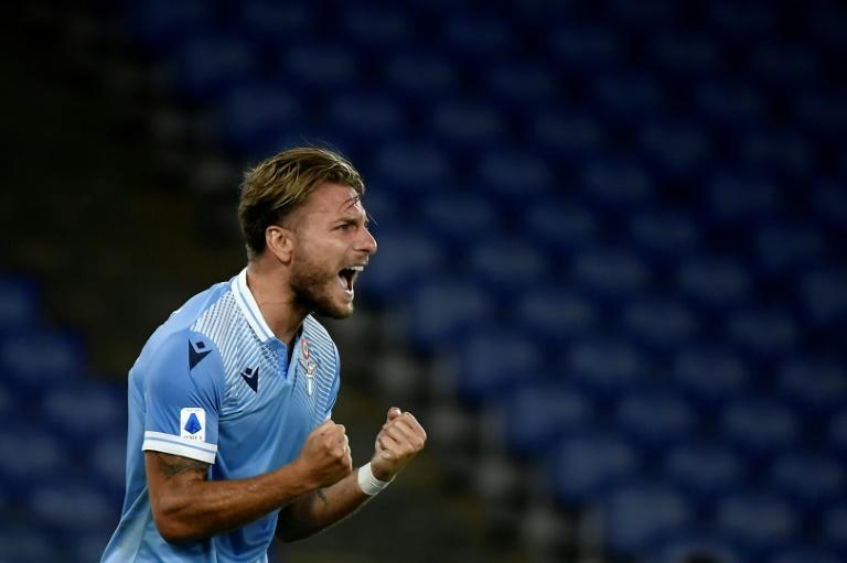 Lazio's Italian forward Ciro Immobile scored his 35th goal this season against Brescia. (AFP Photo/Filippo MONTEFORTE)