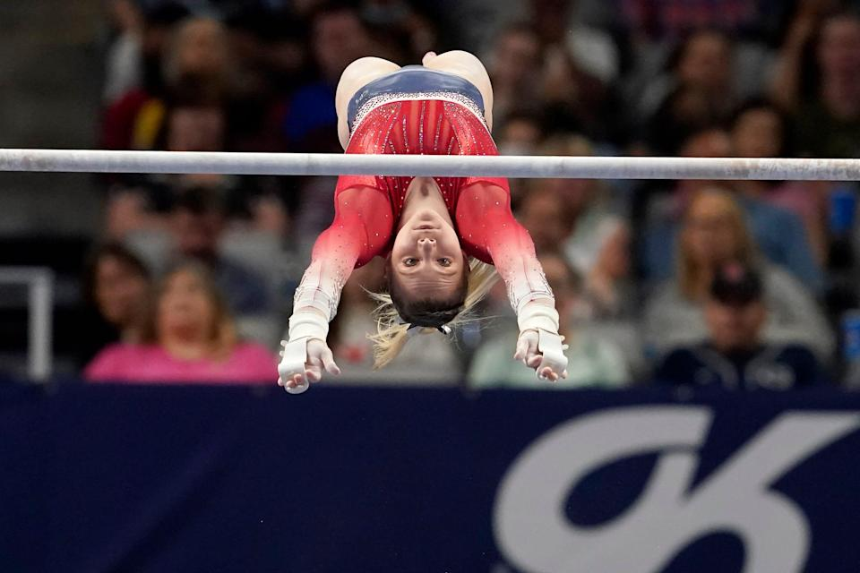 Jade Carey competes on the uneven bars during the U.S. Gymnastics Championships, Sunday, June 6, 2021, in Fort Worth, Texas.