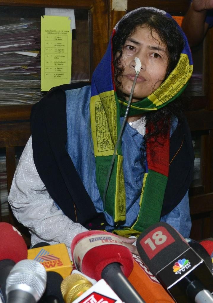 Indian rights activist Irom Sharmila had been held in judicial custody on charges of attempting suicide -- still a criminal offence in India -- and confined to a hospital where she was fed through a nasal tube (AFP Photo/Biju Boro)