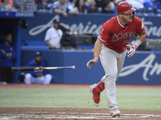 Should Mike Trout's big bases loaded production make opponents consider intentionally walking him like Barry Bonds was 21 years ago. (Nathan Denette/Canadian Press via AP)