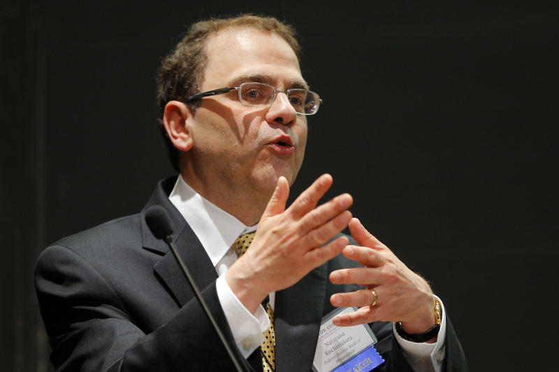 Narayana Kocherlakota, President of the Federal Reserve Bank of Minneapolis, speaks at the ninth annual Carroll School of Management Finance Conference at Boston College in Chestnut Hill, Massachusetts June 5, 2014. REUTERS/Brian Snyder (UNITED STATES - Tags: BUSINESS)