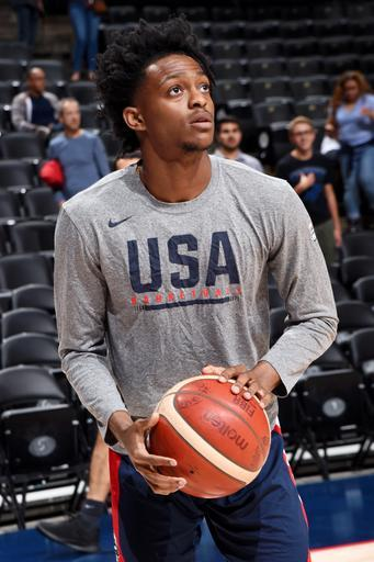ANAHEIM, CA - AUGUST 16: De'Aaron Fox of Team USA warms up before the game against Team Spain on August 16, 2019 at the Honda Center in Anaheim, California. (Photo by Andrew D. Bernstein/NBAE via Getty Images)