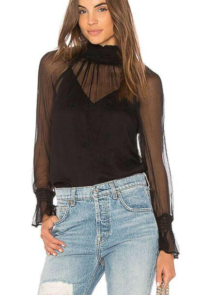 PHOTO: Sheer turtlenecks are a big fall trend, but generally not office friendly. We like this one's flattering smocked collar and demure built-in camisole. (Revolve)