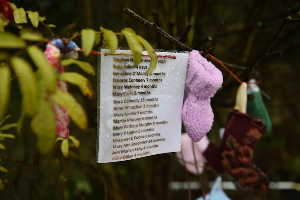 <p>Names of some of the children who died at the Tuam Mother and Baby Home, as seen at the shrine which stands on a mass burial site, formerly part of the Bon Secours Mother and Baby Home</p> (Getty Images)