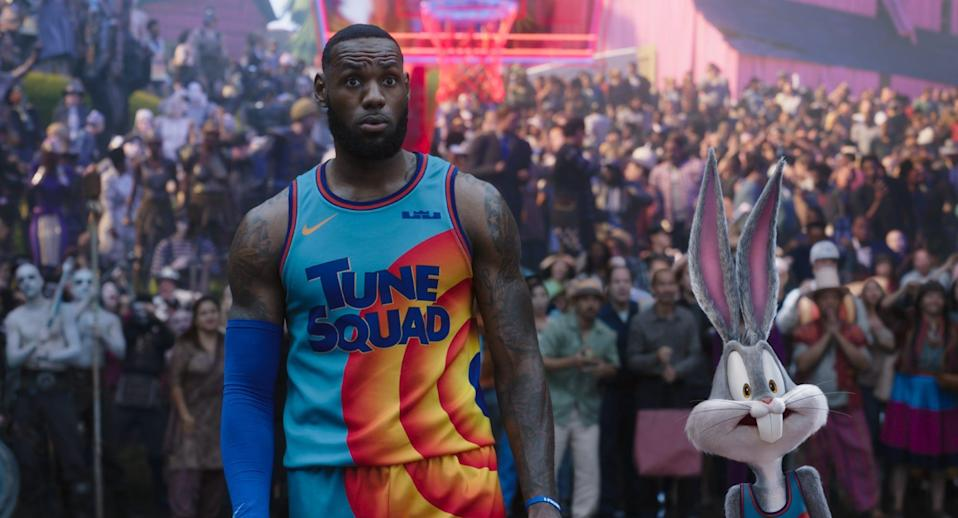 """LeBron James hoops it up with Bugs Bunny's Tune Squad in """"Space Jam: A New Legacy."""""""