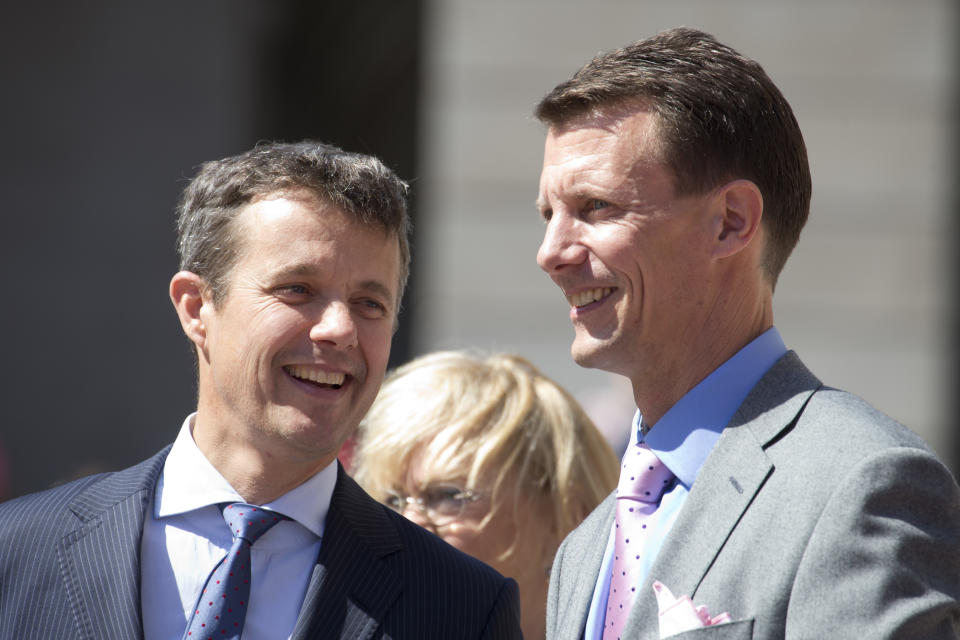 COPENHAGEN, DENMARK - JUNE 5:  Crown Prince Frederik of Denmark and Prince Joachim of Denmark at Christiansborg Palace on the occasion of The 100th Anniversary of The 1915 Danish Constitution, on June 5th, 2015 in Copenhagen, Denmark  (Photo by Julian Parker/UK Press via Getty Images)