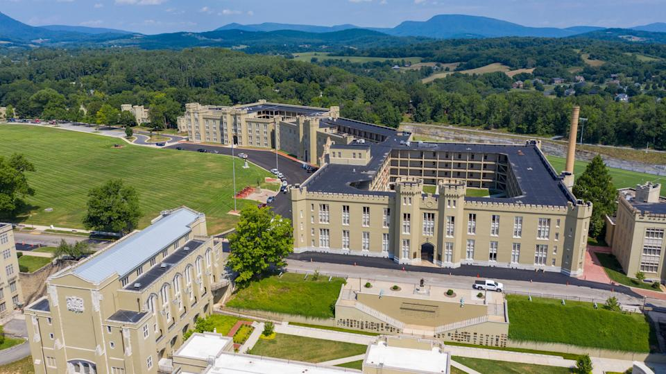 The barracks, right, and chapel, left, at Virginia Military Institute Wednesday July 15, 2020, in Lexington, Virginia. The school founded in 1839, is the oldest state-supported military college in the United States. (Photo: (AP Photo/Steve Helber))