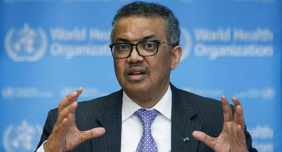 WHO director-general Tedros Adhanom Ghebreyesus speaks during a news conference at the WHO headquarters in Geneva, Switzerland.
