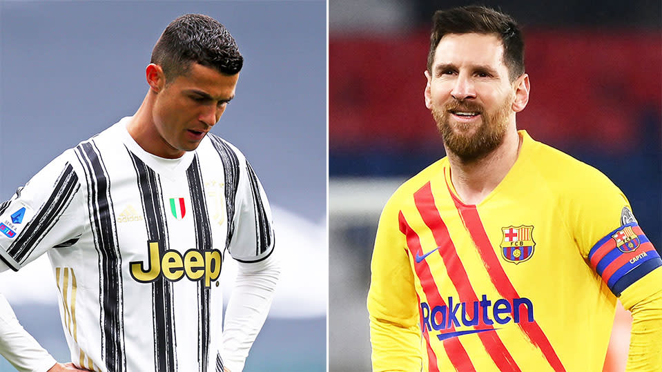 Cristiano Ronaldo (pictured left) and Lionel Messi (pictured right) looking dejected after a loss
