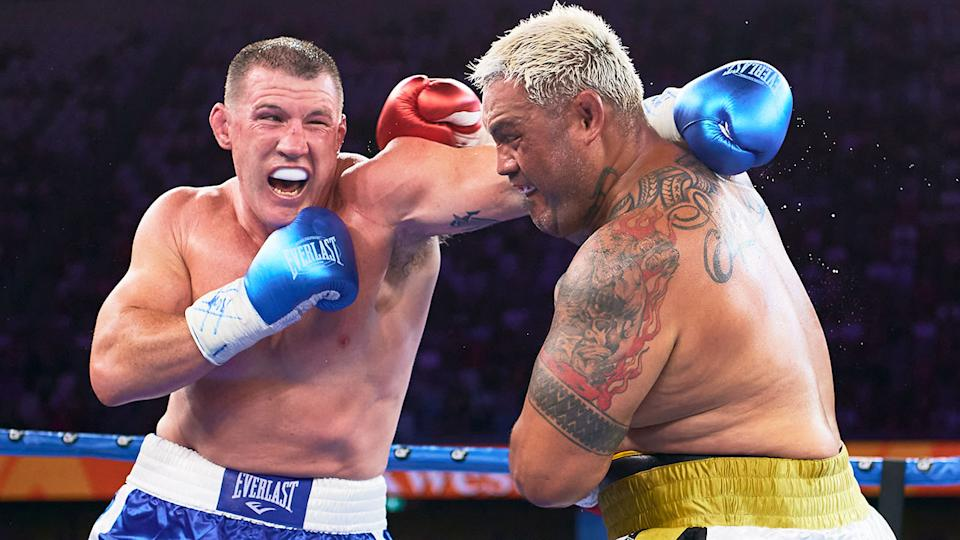 Paul Gallen is seen here trading punches with Mark Hunt in Sydney.