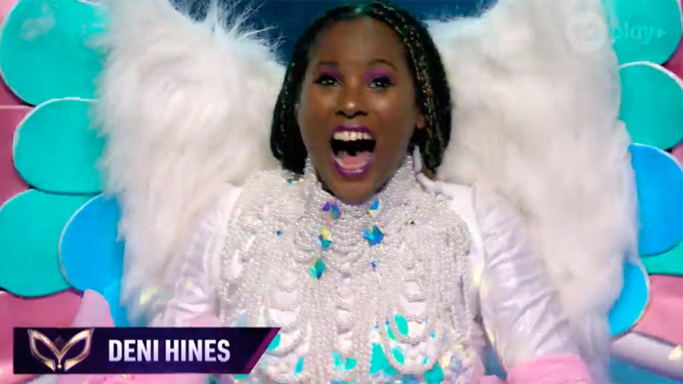 Deni Hines was unmasked as the Unicorn on the show's semi-final. Photo: Ten