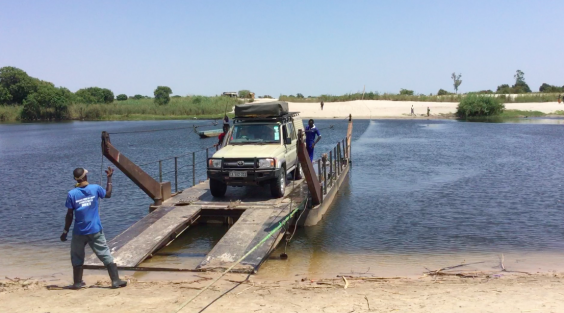 Our car was hauled across the Zambezi on a floating platform (Rose Gamble)