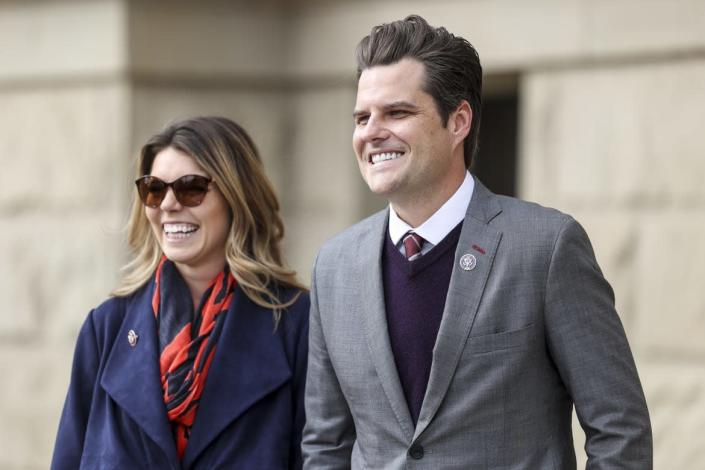 """<div class=""""inline-image__caption""""><p>Rep. Matt Gaetz and Ginger Luckey at a rally in Cheyenne, Wyoming. </p></div> <div class=""""inline-image__credit"""">Michael Ciaglo/Getty</div>"""
