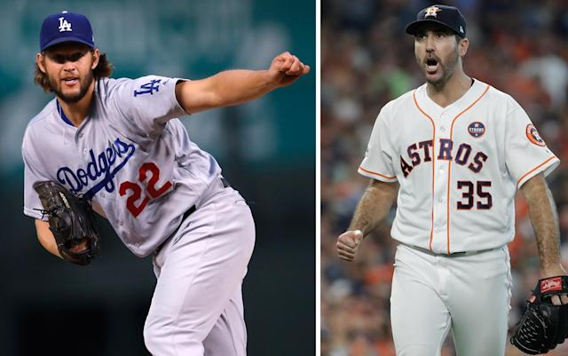 Clayton Kershaw of the Dodgers and Justin Verlander of the Astros will be key pitchers in the World Series. (AP)
