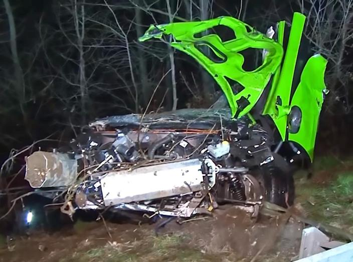 The car crashed near the German city of Essen (Picture: Central European News)