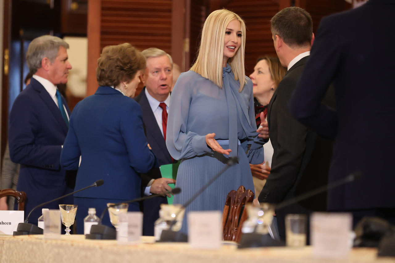 WASHINGTON, DC - FEBRUARY 12: U.S. President Donald Trump's daughter and advisor Ivanka Trump speaks with guests during an event to mark the first anniversary of the Women's Global Development Prosperity Initiative in the Franklin Room at the State Department February 12, 2020 in Washington, DC. Sen. Lindsey Graham (R-SC) and Sen. Jeanne Shaheen (D-NH) are proposing legislation that would make the economic empowerment of women a priority of U.S. foreign policy, establish an Office of Women's Empowerment at the State Department and ensure that Ivanka Trump's initiative would continue beyond the Trump administration. (Photo by Chip Somodevilla/Getty Images)