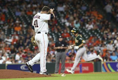 Jul 9, 2018; Houston, TX, USA; Houston Astros relief pitcher Brad Peacock (41) reacts and Oakland Athletics right fielder Stephen Piscotty (25) rounds the bases after hitting a home run during the seventh inning at Minute Maid Park. Mandatory Credit: Troy Taormina-USA TODAY Sports