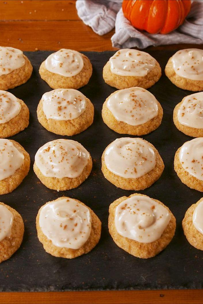 """<p>Add these to your holiday baking list.</p><p>Get the recipe from <a href=""""https://www.delish.com/cooking/recipe-ideas/a23461956/pumpkin-sugar-cookies-recipe/"""" rel=""""nofollow noopener"""" target=""""_blank"""" data-ylk=""""slk:Delish"""" class=""""link rapid-noclick-resp"""">Delish</a>.</p>"""