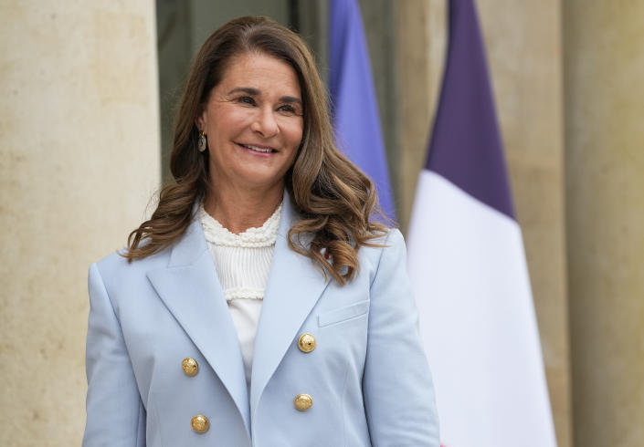 FILE - In this Thursday, July 1, 2021, file photo, Melinda Gates, co-chair of the Bill and Melinda Gates Foundation, poses for photographers as she arrives for a meeting after a meeting on the sideline of the gender equality conference at the Elysee Palace in Paris. Philanthropists Melinda French Gates, MacKenzie Scott and the family foundation of billionaire Lynn Schusterman awarded $40 million Thursday, July 29, 2021, to four gender equality projects. (AP Photo/Michel Euler, File)