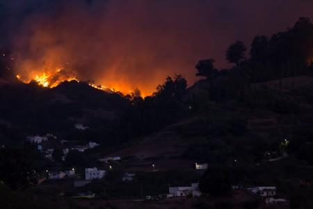 Flames and smoke from a forest fire are seen in the village of Moya on the Canary Island of Gran Canaria