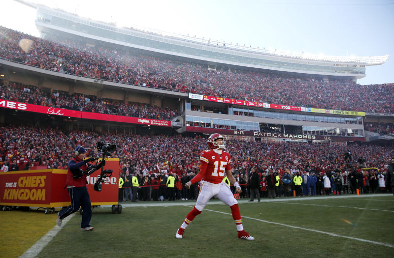 KANSAS CITY, MISSOURI - JANUARY 19: Patrick Mahomes #15 of the Kansas City Chiefs takes the field before the AFC Championship Game against the Tennessee Titans at Arrowhead Stadium on January 19, 2020 in Kansas City, Missouri. (Photo by David Eulitt/Getty Images)