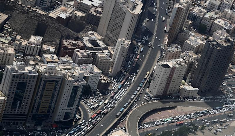 An aerial view shows a part of Mecca in Saudi Arabia, where many foreigners are struggling to find work after quotas were introduced for Saudi citizens (AFP Photo/KARIM SAHIB)