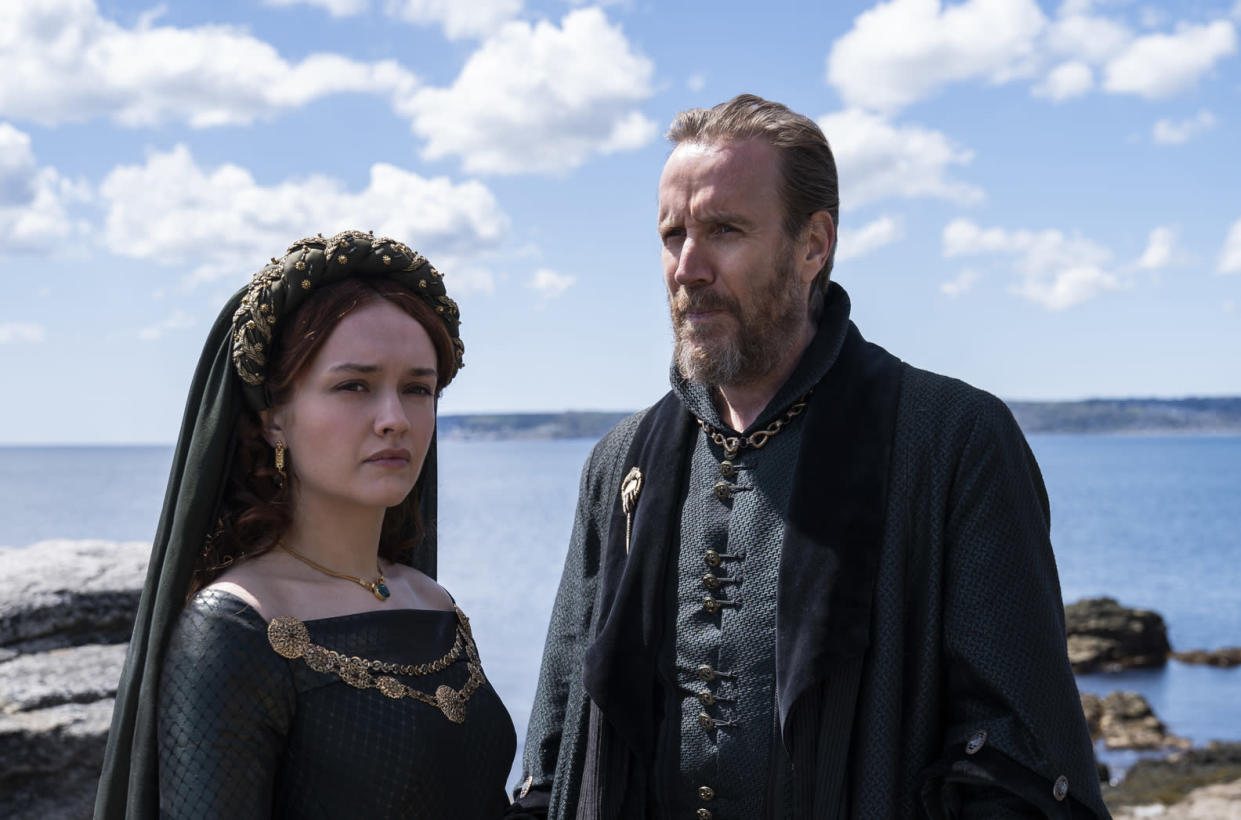Olivia Cooke as Alicent Hightower and Rhys Ifans as Otto Hightower (Ollie Upton/HBO)