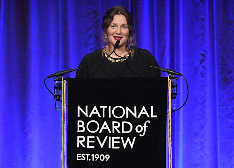 NEW YORK, NEW YORK - JANUARY 08: Drew Barrymore speaks onstage during The National Board of Review Annual Awards Gala at Cipriani 42nd Street on January 08, 2020 in New York City. (Photo by Dimitrios Kambouris/Getty Images for National Board of Review)