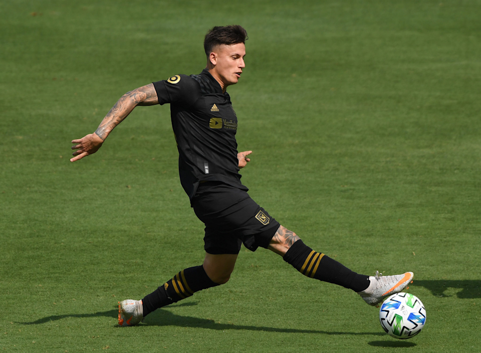 LAFC's Brian Rodriguez is pictured during a game in 2020.